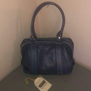 Coach leatherware vintage satchel purse bag blue